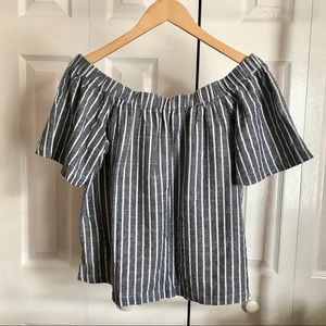 Tops - Off-the-Shoulder Striped Top